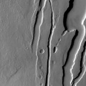 This image from NASA's Mars Odyssey shows lava channels and collapse features on the southwestern flank of Ascraeus Mons.