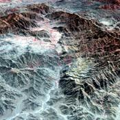The ASTER instrument onboard NASA's Terra's spacecraft imaged the Khyber Pass, a mountain pass that links Afghanistan and Pakistan. Throughout its history it has been an important trade route between Central Asia and South Asia.
