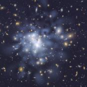 This NASA Hubble Space Telescope image shows the distribution of dark matter in the center of the giant galaxy cluster Abell 1689, containing about 1,000 galaxies and trillions of stars.