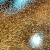 A sea of dark dunes, sculpted by the wind into long lines, surrounds the northern polar cap covering an area as big as Texas in this false-color image from NASA's Mars Odyssey, the longest-working Mars spacecraft in history.