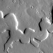 This unusual channel is located in northern Arabia Terra. This image from NASA's Mars Odyssey was captured on 2010-10-21 00:17.