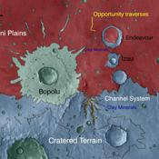 This map indicates geological units in the region of Mars around a smaller area where NASA's Mars Exploration Rover Opportunity has driven from early 2004 through late 2010.
