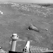 NASA's Mars Exploration Rover Opportunity used its navigation camera to record this view of Santa Maria crater at the end of a drive, bringing it to the western edge of this crater.