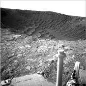 This image from NASA's Mars Exploration Rover at the edge of