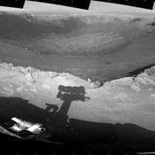This 360-degree mosaic of images from the navigation camera on NASA's Mars Exploration Rover Opportunity shows the view from the western rim of