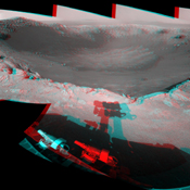 This 360-degree, stereo mosaic of images from NASA's Mars Exploration Rover Opportunity shows the view from the western rim of 'Santa Maria' crater on Dec. 19, 2010. 3-D glasses are necessary to view this image.