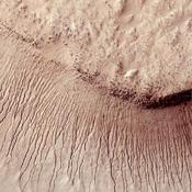 This NASA's Mars Reconnaissance Orbiter shows many channels on a scarp in the Hellas impact basin. On Earth we would call these gullies. Some larger channels on Mars that are sometimes called gullies are big enough to be called ravines on Earth.
