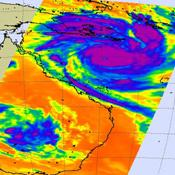 Shown here is the latest infrared image of Yasi from NASA's Aqua satellite, taken on Feb. 1, 2011. A distinct eye is visible, and the outer bands of the storm can be seen nearing the Australian coast.