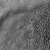 Dune fields are common in the topographic lows in the Aonia Planum and Aonia Terra region as captured by NASA's Mars Odyssey.