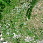 This image from NASA's Terra spacecraft shows an area outside of Bogota, Colombia, one of the country's two major flower growing areas.