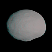 This anaglyph shows a 3-D model of the protoplanet Vesta, using scientists' best guess to date of what the surface of the protoplanet might look like. It was created as part of an exercise for NASA's Dawn mission. 3D glasses are necessary.