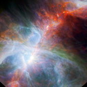 NASA's Spitzer Space Telescope and ESA's Herschel mission combined to show this view of the Orion nebula, found below the three belt stars in the famous constellation of Orion the Hunter, highlights fledgling stars hidden in the gas and clouds.