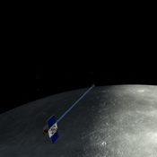 An artist's depiction of the twin spacecraft that comprise NASA's GRAIL mission. During the GRAIL mission's science phase, spacecraft (Ebb and Flow) transmit radio signals precisely defining the distance between them as they orbit the moon in formation.
