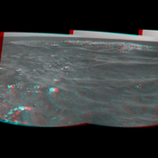 NASA's Mars Exploration Rover Opportunity took this stereo view of a crater informally named 'Freedom 7' shortly before the 50th anniversary of the first American in space: astronaut Alan Shepard's flight in the Freedom 7 spacecraft. You need 3-D glasses.