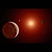 This artist's concept illustrates a young, red dwarf star surrounded by three planets. NASA's Galaxy Evolution Explorer is helping to identify young, red dwarf stars that are close to us by detecting their ultraviolet light.