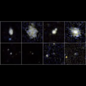 These postage-stamp images taken by NASA's Galaxy Evolution Explorer are helping to solve a mystery -- why do the littlest of galaxies produce the biggest of star explosions, or supernovae?