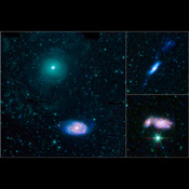This montage combines observations from NASA's Spitzer Space Telescope and NASA's Galaxy Evolution Explorer (GALEX) spacecraft showing three examples of colliding galaxies from a new photo atlas of galactic 'train wrecks.'