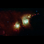 NASA's Spitzer Space Telescope exposes the depths of this dusty nebula with its infrared vision, showing stellar infants that are lost behind dark clouds when viewed in visible light.