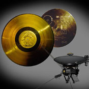 This image highlights the special cargo onboard NASA's Voyager spacecraft: the Golden Record. Each of the two Voyager spacecraft launched in 1977 carry a 12-inch gold-plated phonograph record with images and sounds from Earth.