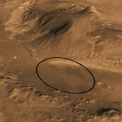This computer-generated view based on multiple orbital observations shows Mars' Gale crater as if seen from an aircraft northwest of the crater. NASA has selected Gale as the landing site for the Mars Science Laboratory mission.