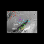The area in and near the landing site selected for landing of NASA's Mars Science Laboratory offers a diversity of possible targets for examination by the mission's rover, Curiosity.