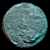 This 3-D image of the asteroid Vesta was taken on July 9, 2011 by the framing camera instrument aboard NASA's Dawn spacecraft. You need 3D glasses to view this image.