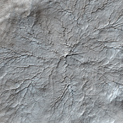 This image from NASA's Mars Reconnaissance Orbiter shows erosional features formed by seasonal frost near the south pole of Mars. During the winter, high latitudes on Mars build up deposits of carbon dioxide frost that can be several feet thick.