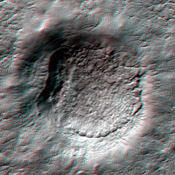 This anaglyph from NASA's Mars Reconnaissance Orbiter shows erosional features formed by seasonal frost near the south pole of Mars. 3-D glasses are necessary to view this image.