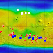 This map of Mars from NASA's Mars Odyssey orbiter shows relative locations of three types of findings related to salt or frozen water, plus a new type of finding that may be related to both salt and water.