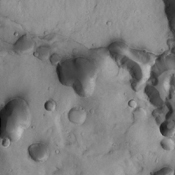 This image captured by NASA's 2001 Mars Odyssey spacecraft shows a portion of Tinto Vallis.