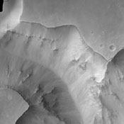 Today's image from NASA's 2001 Mars Odyssey spacecraft shows part of the Valles Marineris canyon system -- a mega gully enters Capri Chasma.