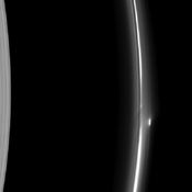The rich dynamics of Saturn's F ring are seen in this image taken by NASA's Cassini spacecraft. Most of the features are believed to be due to the ring's interactions with its shepherd moons or with small moonlets embedded within the ring itself.