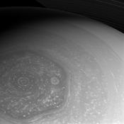 NASA's Cassini spacecraft takes full advantage of the sunlight to capture these amazing views of the north polar hexagon and myriad storms, large and small, that comprise the weather systems in the polar region.