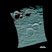 This 3-D image shows the topography of Vesta's three craters, informally named the