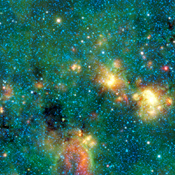 This infrared image from NASA's Wide-field Infrared Survey Explorer shows exceptionally cold, dense cloud cores seen in silhouette against the bright diffuse infrared glow of the plane of the Milky Way galaxy.