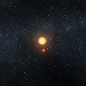 This artist's image illustrates the Kepler-16 system from an overhead view, showing the eccentric orbits of the two stars as they twirl around each other every 41 days like figure skaters.