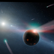 This artist's conception illustrates a storm of comets around a star near our own, called Eta Corvi. Evidence for this barrage comes from NASA's Spitzer Space Telescope's infrared detectors.