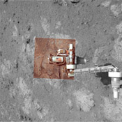 This view from NASA's rover Opportunity, of an American flag on metal recovered from the site of the World Trade Center towers shortly after their destruction, was taken on Mars on Sept. 11, 2011, the 10th anniversary of the attacks on the towers.