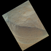 This is the highest-resolution view that the MAHLI camera on NASA's Mars rover Curiosity acquired of the top of a rock called 'Bathurst Inlet'; the rock is dark gray and is so fine-grained that MAHLI cannot resolve grains or crystals in it.
