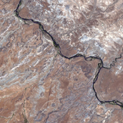 This image from NASA's Terra satellite shows the only place in the United States where four states come together: the four corners area in the western U.S. At a barren, desert location, Utah, Colorado, Arizona, and New Mexico share a common point.