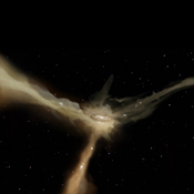 In this artist's conception based on data from ESA's Herschel observatory, a galaxy accretes mass from rapid, narrow streams of cold gas. These filaments provide the galaxy with continuous flows of raw material to feed its star-forming at a leisurely pace