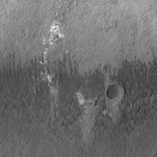 The small dune forms seen in this image by NASA's 2001 Mars Odyssey spacecraft are located on the floor of Briault Crater.