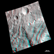 NASA's Dawn spacecraft obtained this 3-D image of asteroid Vesta with its framing camera on Aug. 23 and 28, 2011 at a distance of 1,700 miles (2,740 kilometers). You will need 3D glasses to view this image.