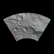 This anaglyph from NASA's Dawn spacecraft image shows the topography of asteroid Vesta's southeastern region. You need 3-D glasses to view this image.