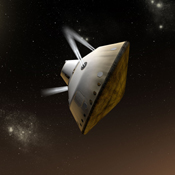 This artist's concept shows thrusters firing during the entry, descent and landing phase for NASA's Mars Science Laboratory mission to Mars.
