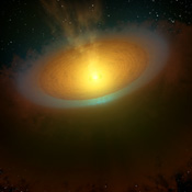 This artist's concept, based on data from NASA's Herschel telescope, illustrates an icy planet-forming disk around a young star called TW Hydrae, located about 175 light-years away in the Hydra, or Sea Serpent, constellation.