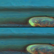 These false-color mosaics from NASA's Cassini spacecraft chronicle the changing appearance of the huge storm that developed from a small spot in Saturn's northern hemisphere.