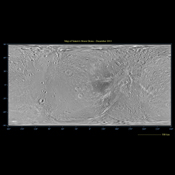 This global map of Saturn's moon Dione was created using images taken during flybys by NASA's Cassini spacecraft. This global map of Saturn's moon Dione was created using images taken during flybys by NASA's Cassini spacecraft.