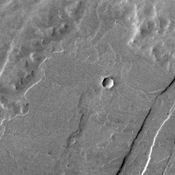 This image from NASA's 2001 Mars Odyssey shows several layers of lava flows one on top of the other.
