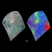 These composite images from NASA's Dawn spacecraft images show the spectacular spectral diversity of asteroid Vesta's surface.